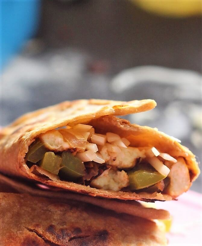 close up view of paneer roll recipe