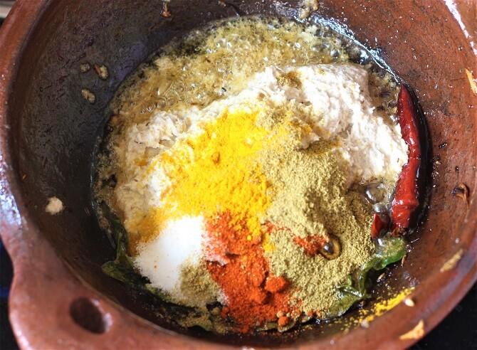 spices, pastes added for making hyderabadi bagara baingan recipe