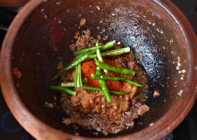 chili powder, green chili added for making kadai paneer