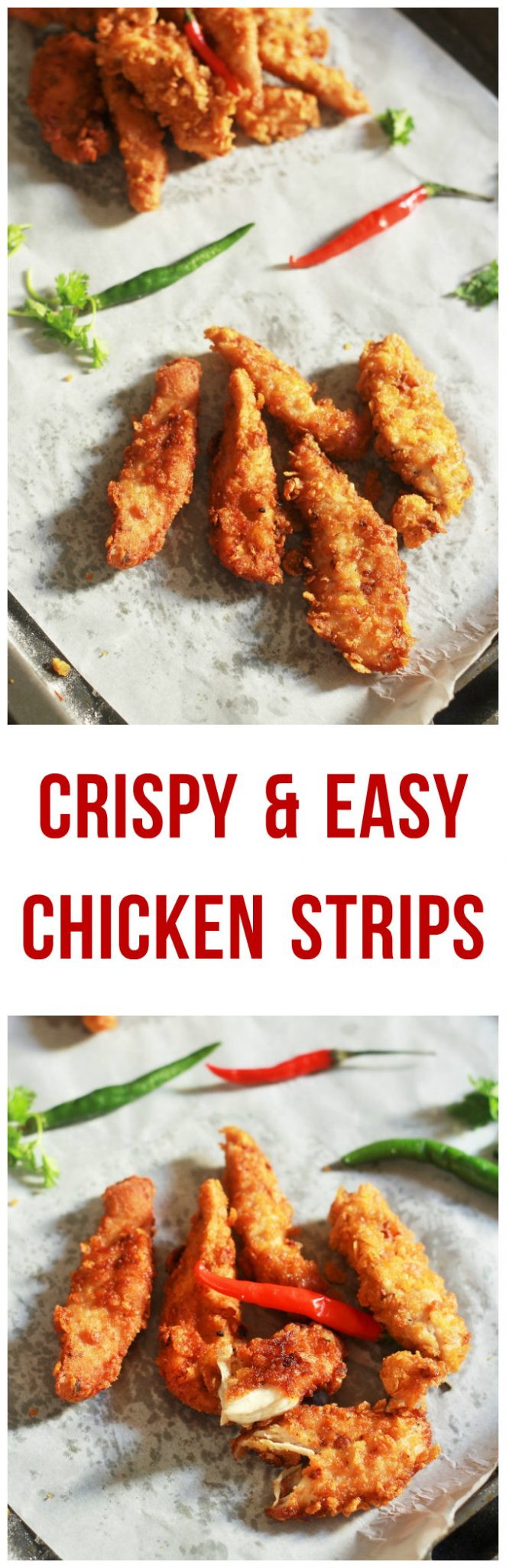 Homemade Crispy Chicken Strips recipe-An absolutely fabulous chicken strips recipe that would leave you asking for more #chickenstrips #chickenrecipe #chickentender #halalrecipe #indianrecipe