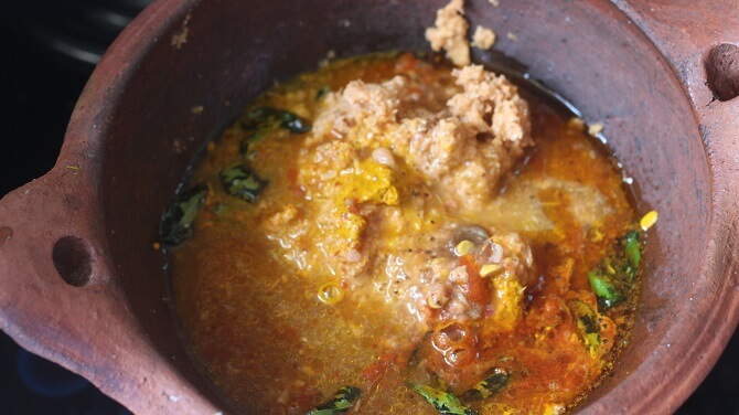 masala for south indian fish curry in a kadai
