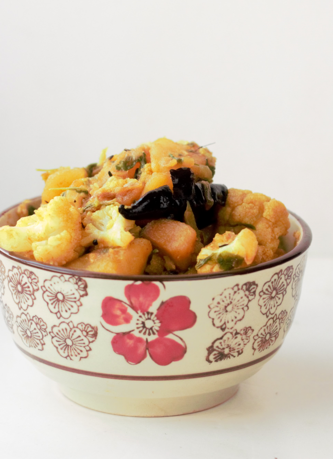Aloo Gobi Methi Sabzi Dry Potato Cauliflower Fenugreek Stir Fry Recipe