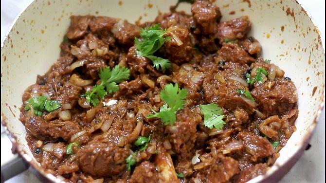 Close up of Mutton Do pyaza recipe.