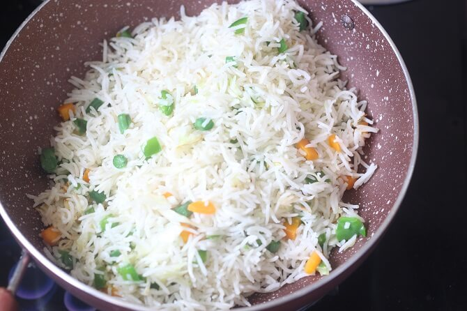 rice in veggies for making veg fried rice