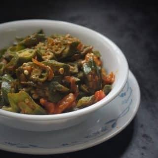 side view of bhindi masala recipe