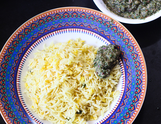 Moong Dal Khichdi Recipe is a simple one pot rice dish that is made with rice and the moong dal. This is a very unique khichdi which isn't sticky. Very simple and yet so elegant, this dish is a savior when you do not have anything at home.