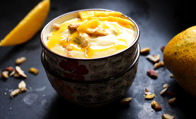 Mango Shrikhand, Amrakhand, how to make mango shrikhand recipe