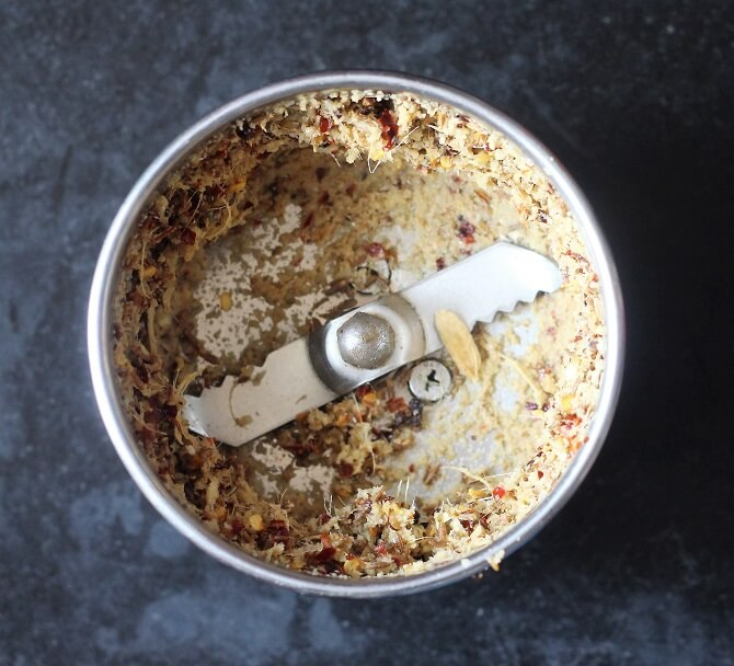 spices made into paste in a mixie jar