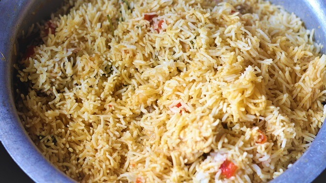 south indian chicken biryani recipe is ready to serve in a vessel