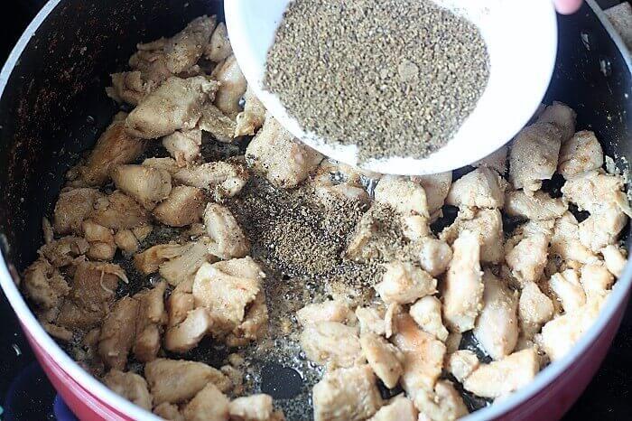 cumin black pepper powder to the chicken